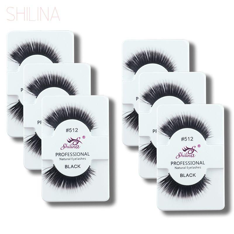 e9f172a9228 SHILINA False Eyelashes 6 Pairs Handmade Black Long Thick Fake False lashes  Soft Eye Lash Professional Makeup Wholesale 512