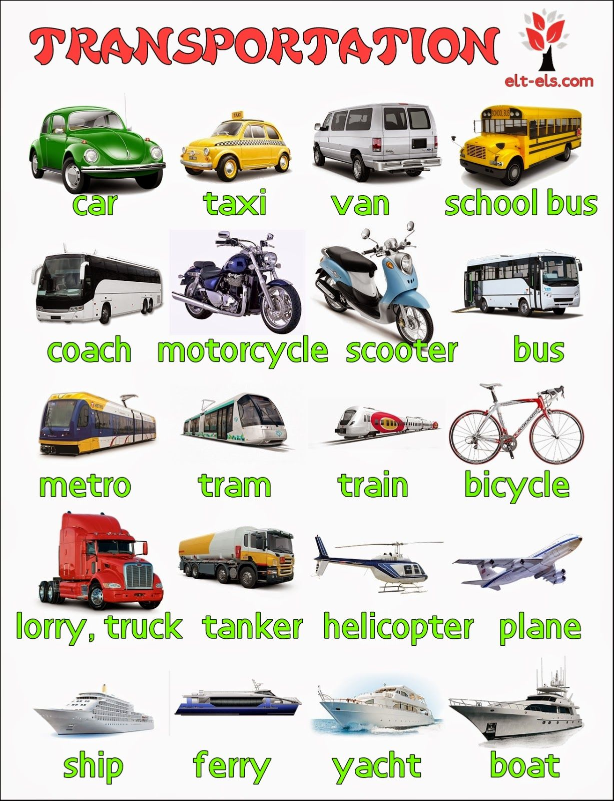 Transportation | English Language, ESL, EFL, Learn English ...