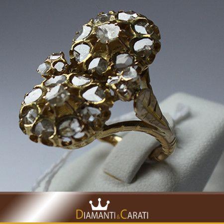Anello oro Giallo 750/1000 con Diamanti Antichi http://www.diamantiecarati.com #diamantiecarati #fashion #gioielli #oro