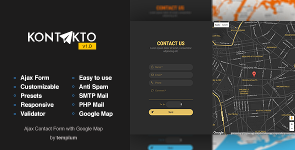 kontakto ajax contact form with styled map by templum kontakto is a responsive well organized documented ajax contact form it can be simply customized