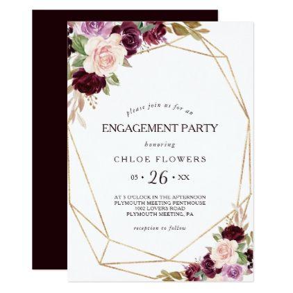 Gold Blush Burgundy Floral Engagement Party Invitation | Zazzle.com #engagementparty