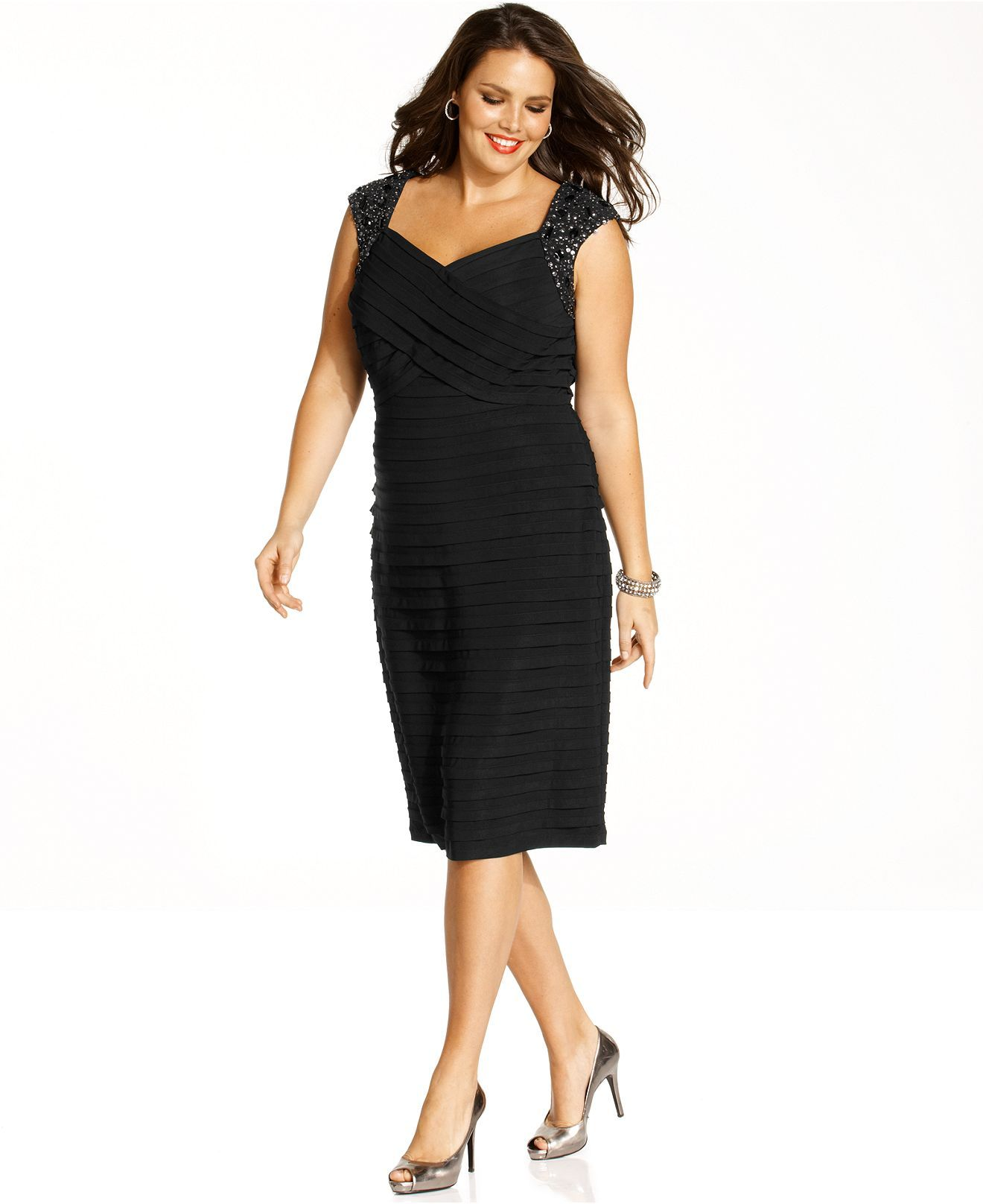 Xscape Plus Size Dress Sleeveless Beaded Shutter Pleated Cocktail