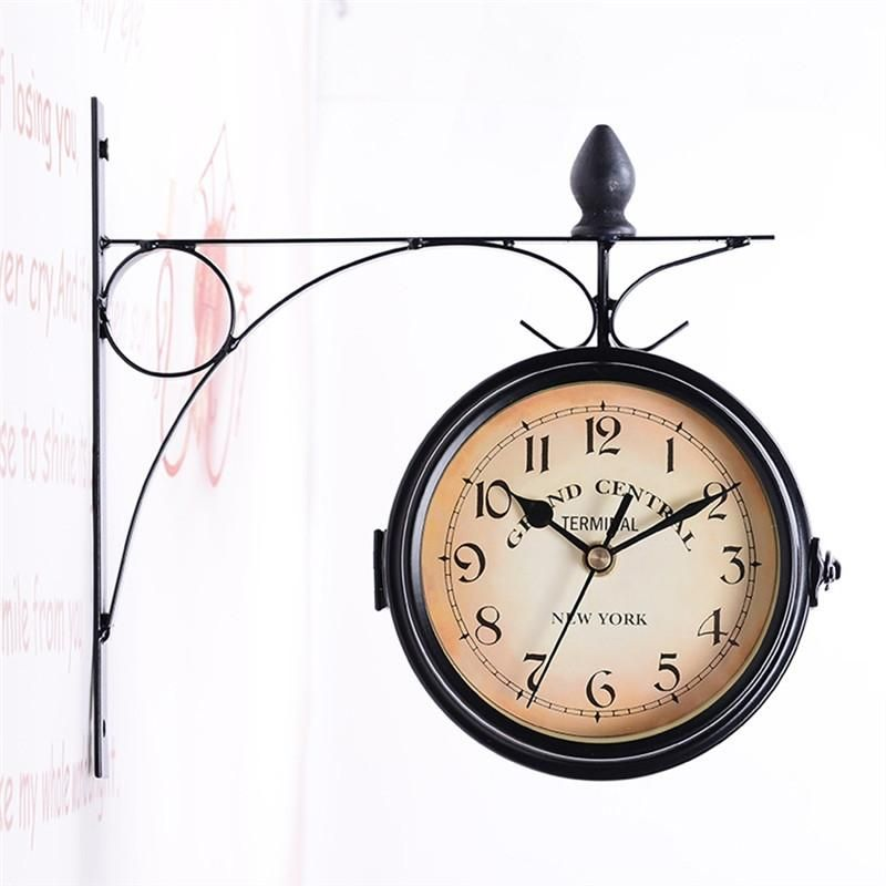 European Style Double Sided Wall Clock Creative Classic Clocks Monochrome Retro Wall Clock Wall Clock Wall Clocks Living Room