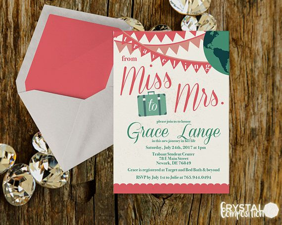 Traveling From Miss To Mrs. Bridal Shower Invitation Printable