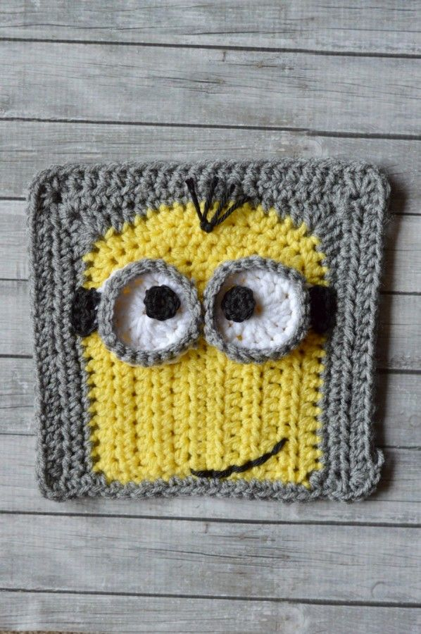 """Kevin"""" Minion Crochet Afghan Square (Whistle and Ivy)"""