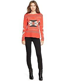Lauren Ralph Lauren Geometric-Print Cotton Sweater & Super-Stretch Heritage Straight-Leg Jeans