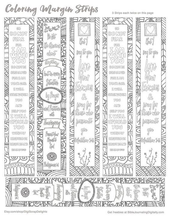 3 Printable Zentangle Coloring Bible Journaling Margin Strips For Wide Margins Or Planner Sticker Decoration
