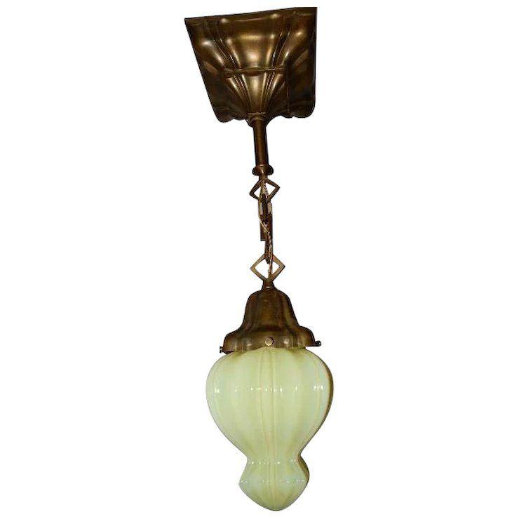 Arts crafts brass pendant light fixture w sheffield