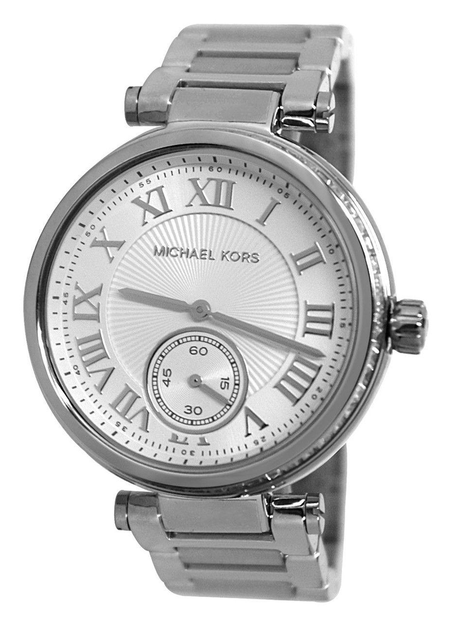 4192a93956a9 Michael Kors MK5866 Skylar Silver Dial Steel Women s Glitz Bezel Watch
