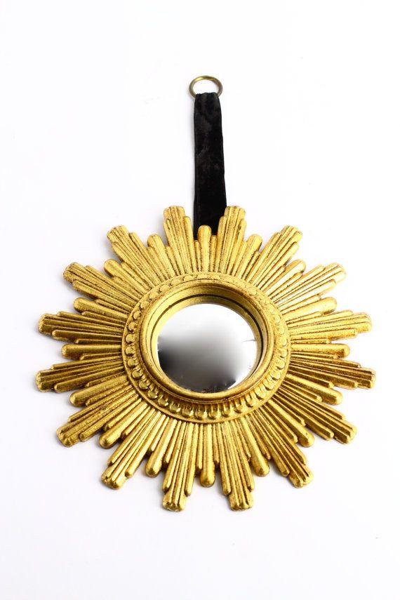 gold sunburst mirror. Small Vintage Gold Sunburst Mirror Mid Century By CrolAndCo