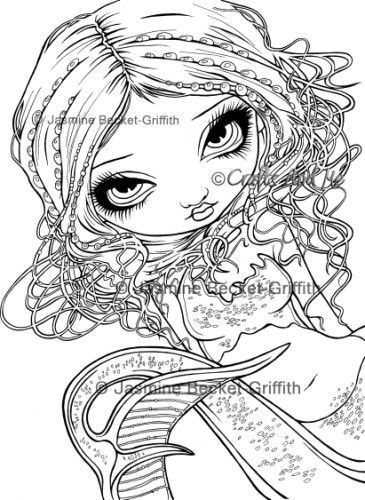 Pearl Swirl Mermaid-Unmounted Rubber Stamp | Meaningful drawings, Dog coloring page, Superhero ...