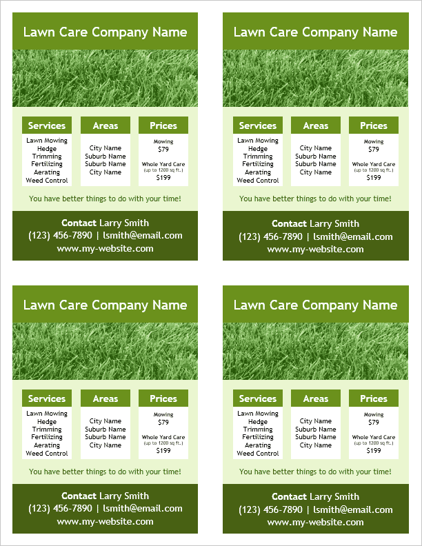 Lawn Care Flyer Template 4 Per Page By Vertex42 Com