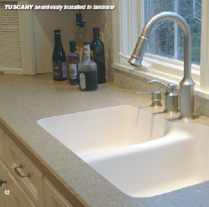Seamless Undermount Sink In A Granite Look Laminate Countertop.