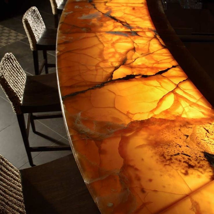 illuminated onyx countertop for a bar yellow gold honey color with dark veins