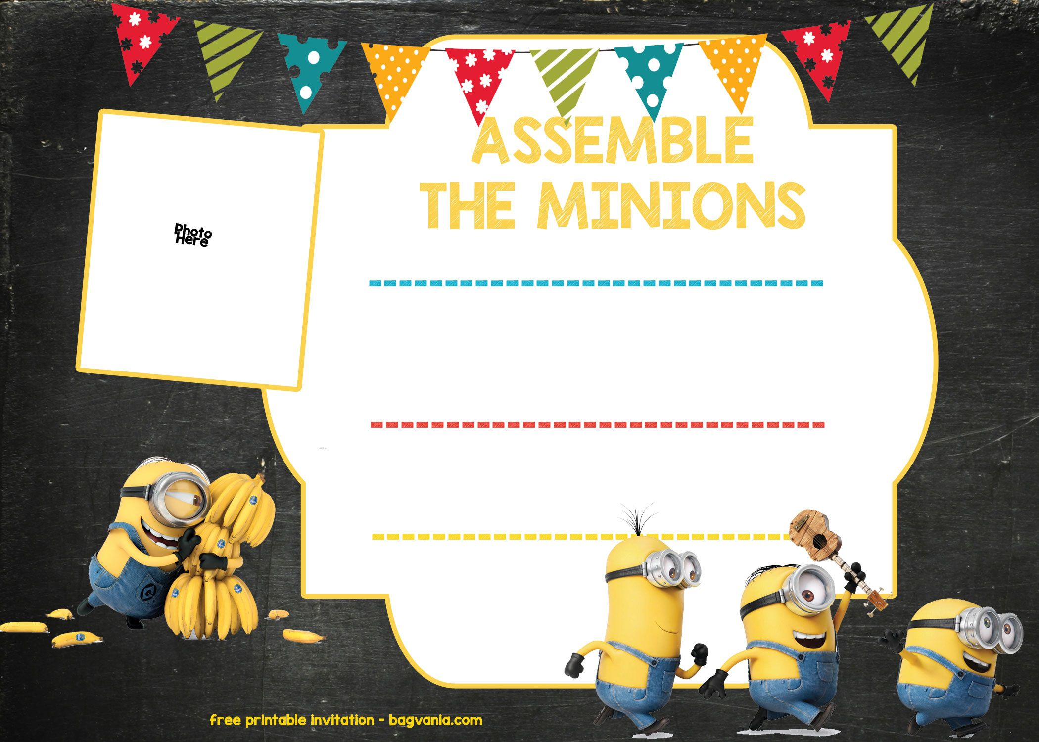 Download Minion Birthday Invitation Template - FREE Download | FREE ...