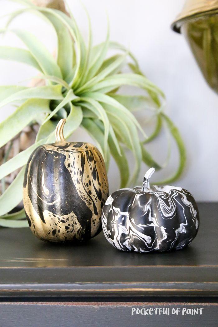 DIY Marbelized Pumpkins Craft, Holidays and Halloween jack