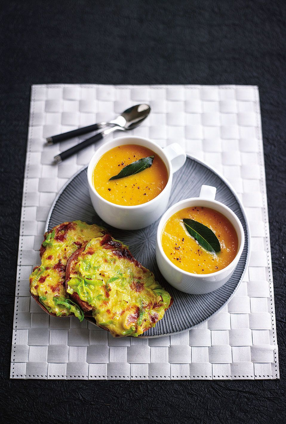 Carrot soup and Welsh rarebit with mustard and leeks recipe | delicious. magazine