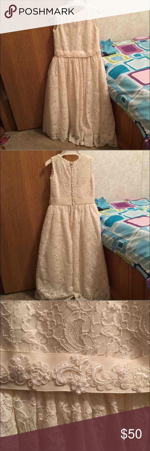 Ivory lace girls dress Custome made. Size 7/8 kids size. Has back zipper. Only worn once for wedding. Dresses Formal