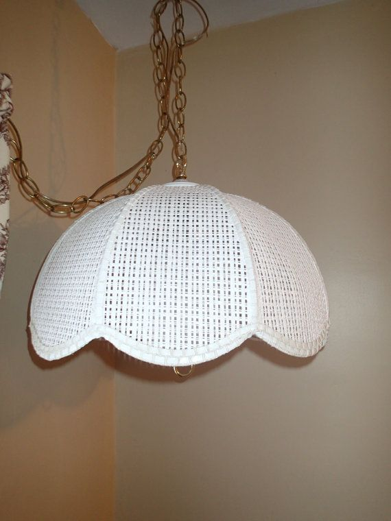 Vintage 1980s White Wicker Tulip Hanging Light Swag Lamp