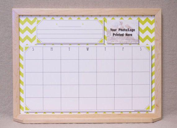 Chartreuse White Chevron Whiteboard Calendar Personalized Custom