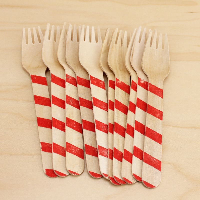 Red Striped Wood Forks | 10ct
