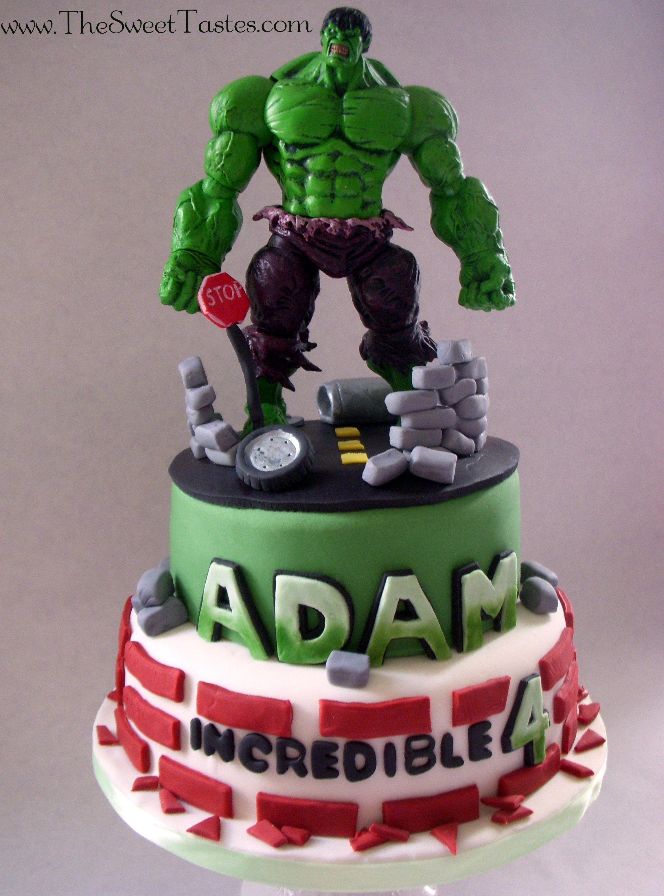 Incredible Hulk birthday cake wwwTheSweetTastescom Cake Ideas