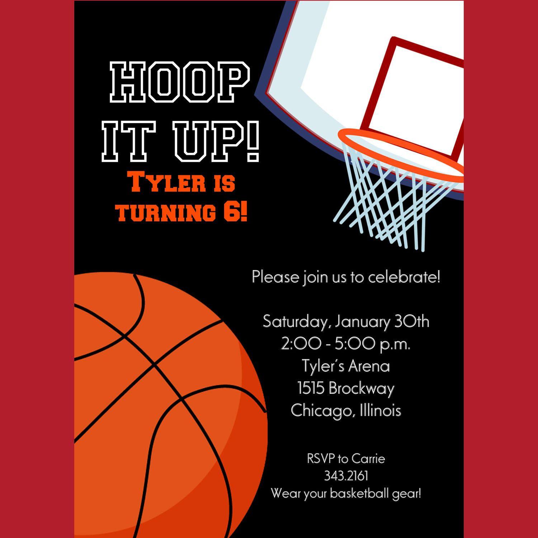 Basketball Invitation Printable Invitation Kids Birthday Boys