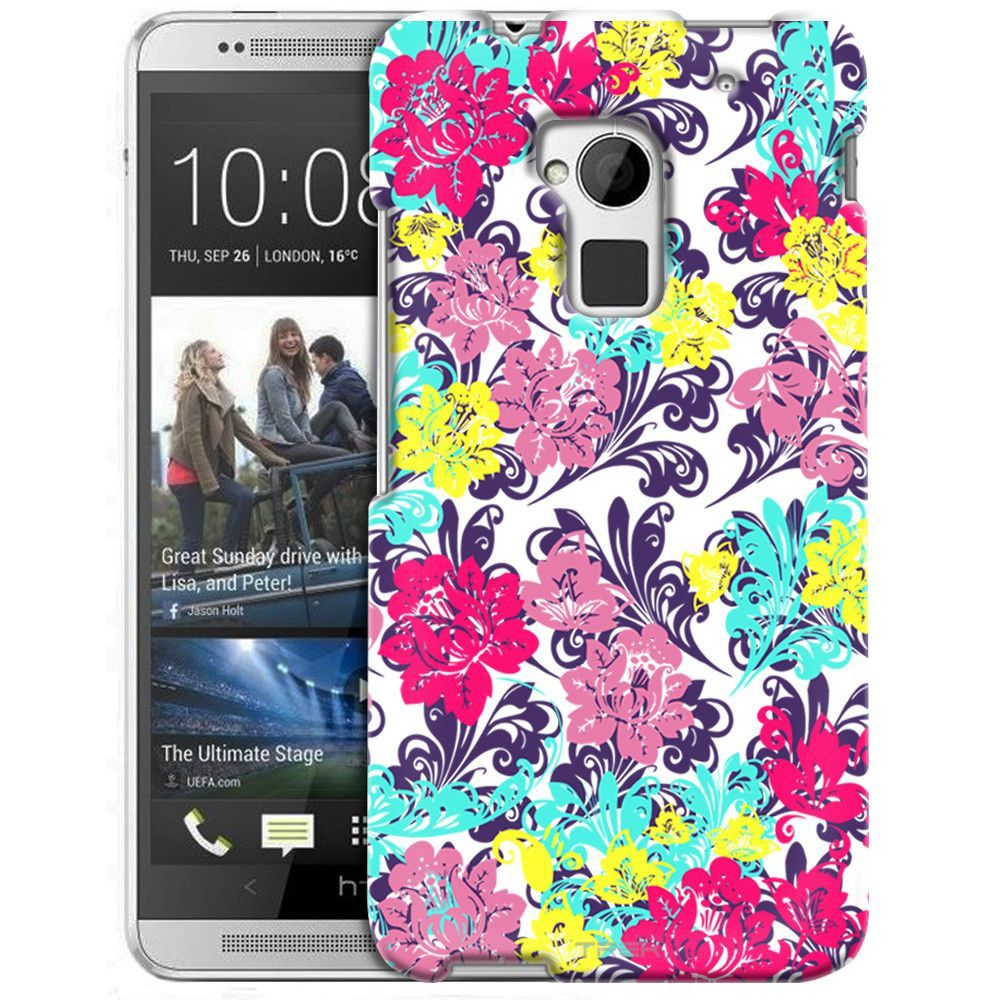 HTC One Max Colorful Flowers on White Damasks Slim Case