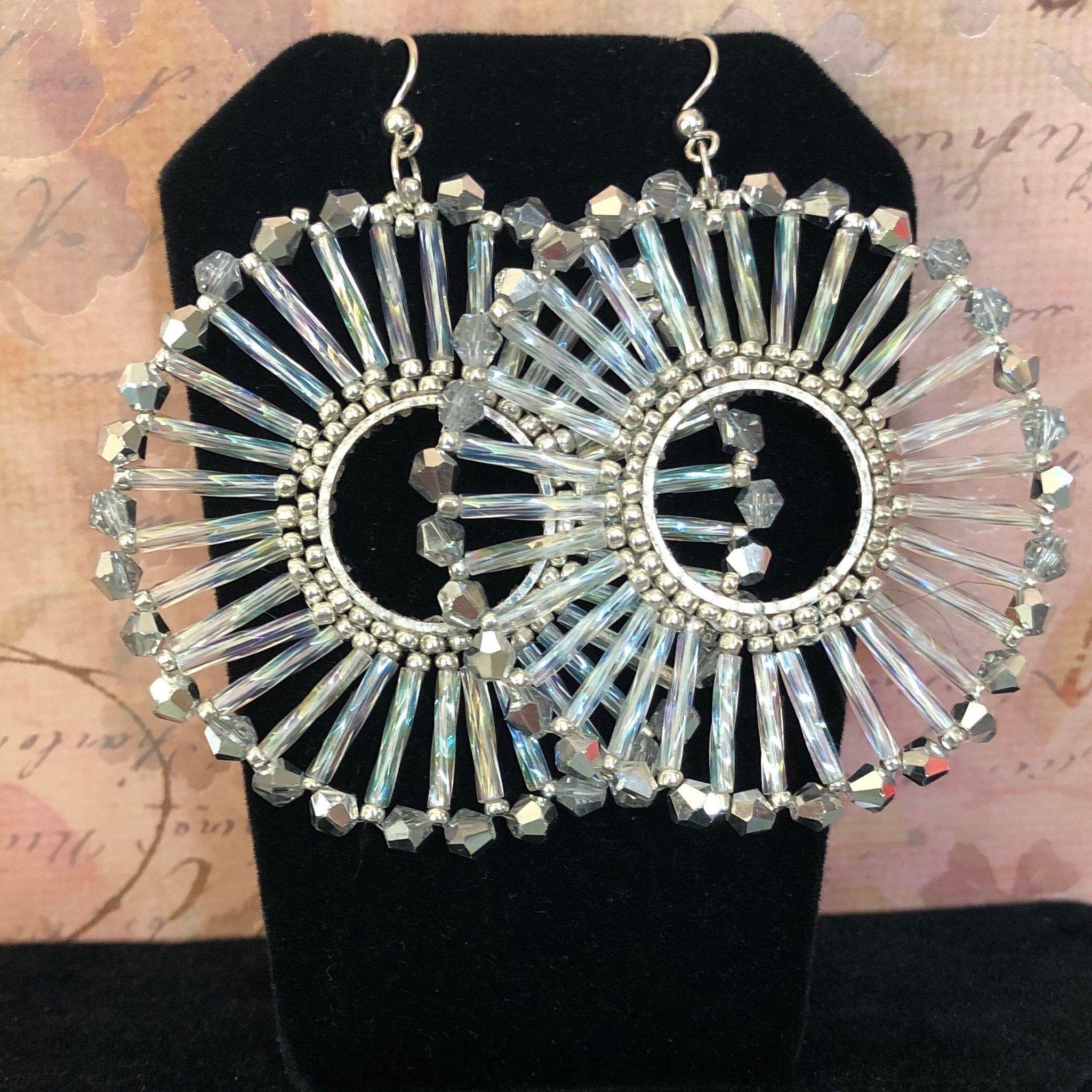 Hoop earrings seed bead earrings silver earrings beaded