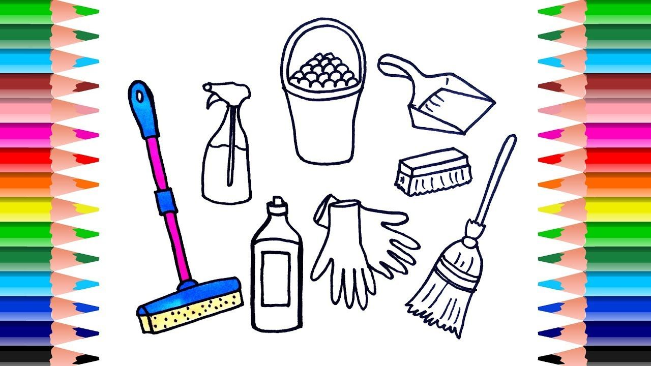 How To Draw Set Cleaning Tools For Kids Coloring Book Art Coloring Book Art Drawing Set Coloring Books