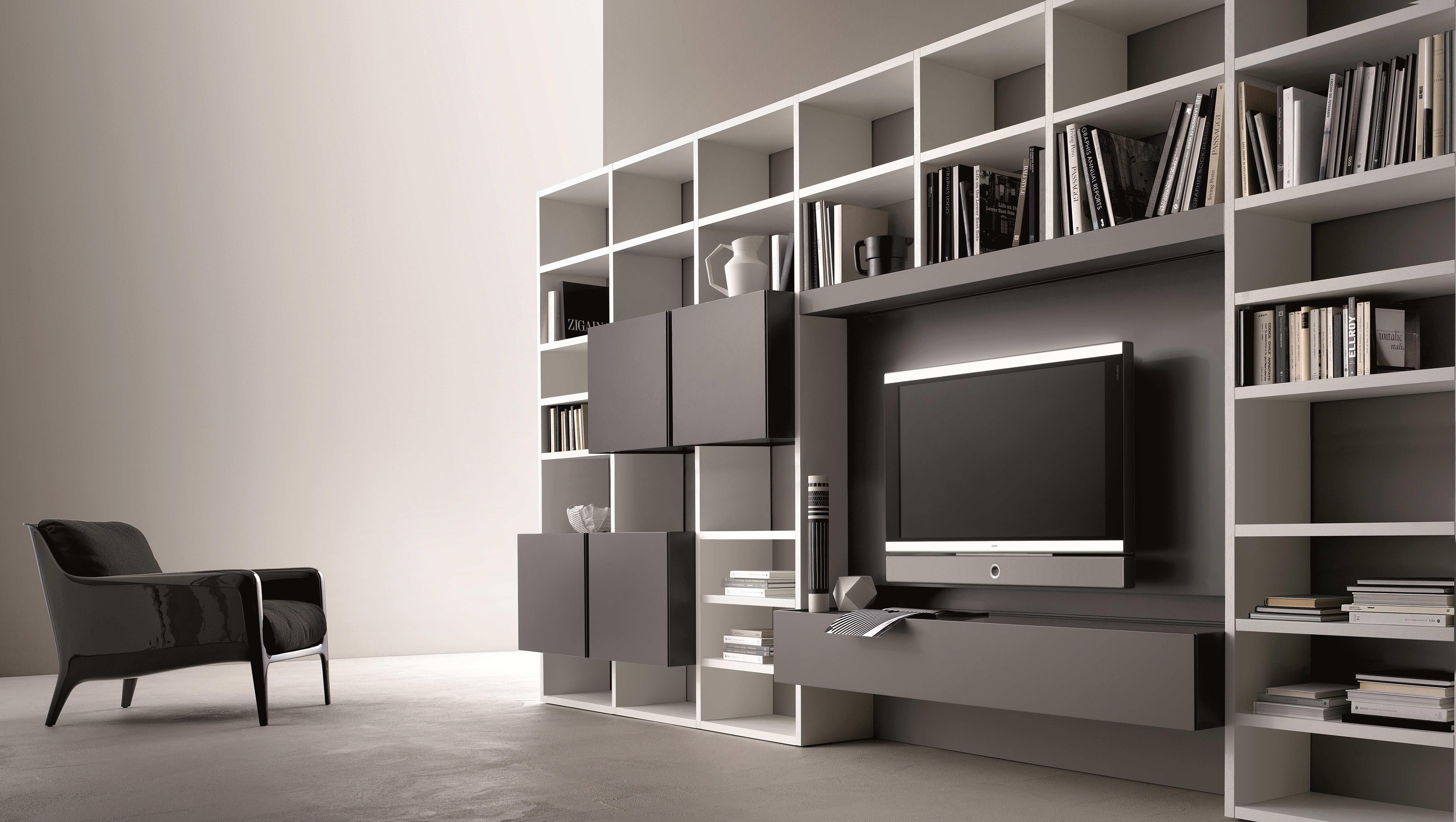 Libreria A Muro Moderna Ikea parete attrezzata su misura || san giacomo | soggiorno