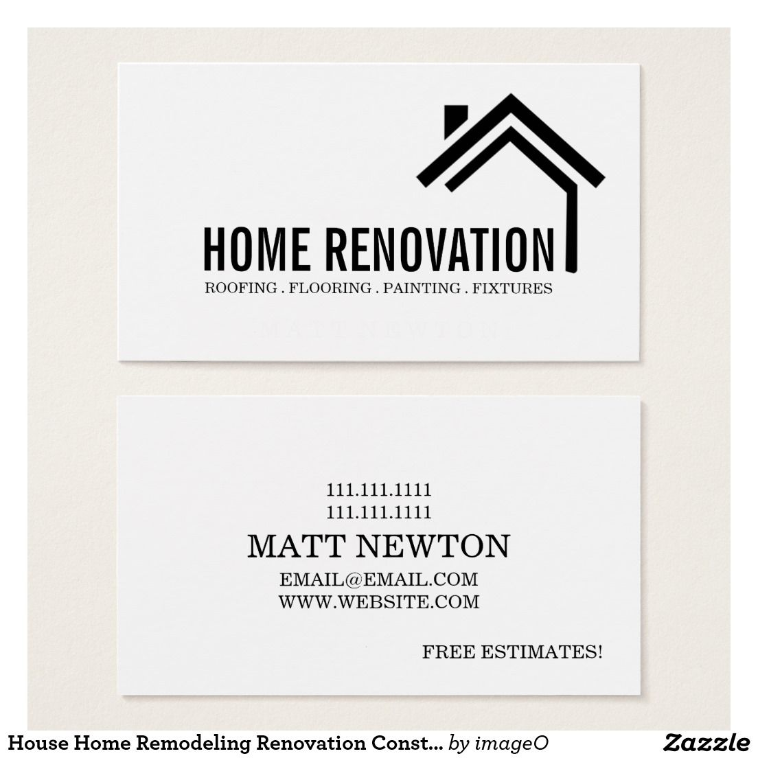 House Home Remodeling Renovation Construction Business Card ...
