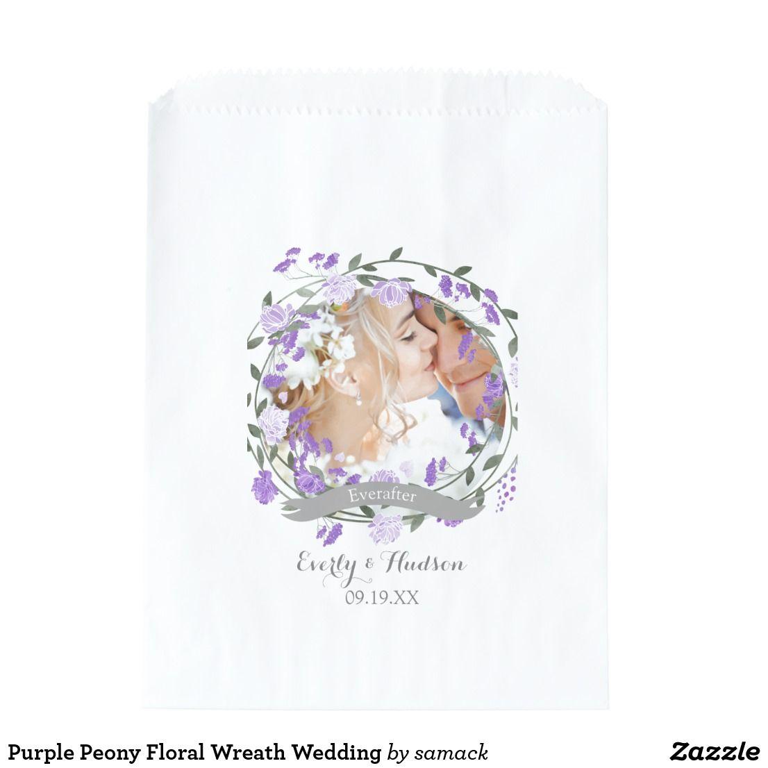 Purple Peony Floral Wreath Wedding Favor Bag   Wedding : Bohemian ...