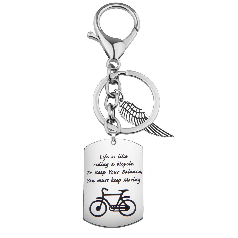 Gzrlyf Bike Keychain Bicycle Dog Tag Keychain Life Is Like Riding