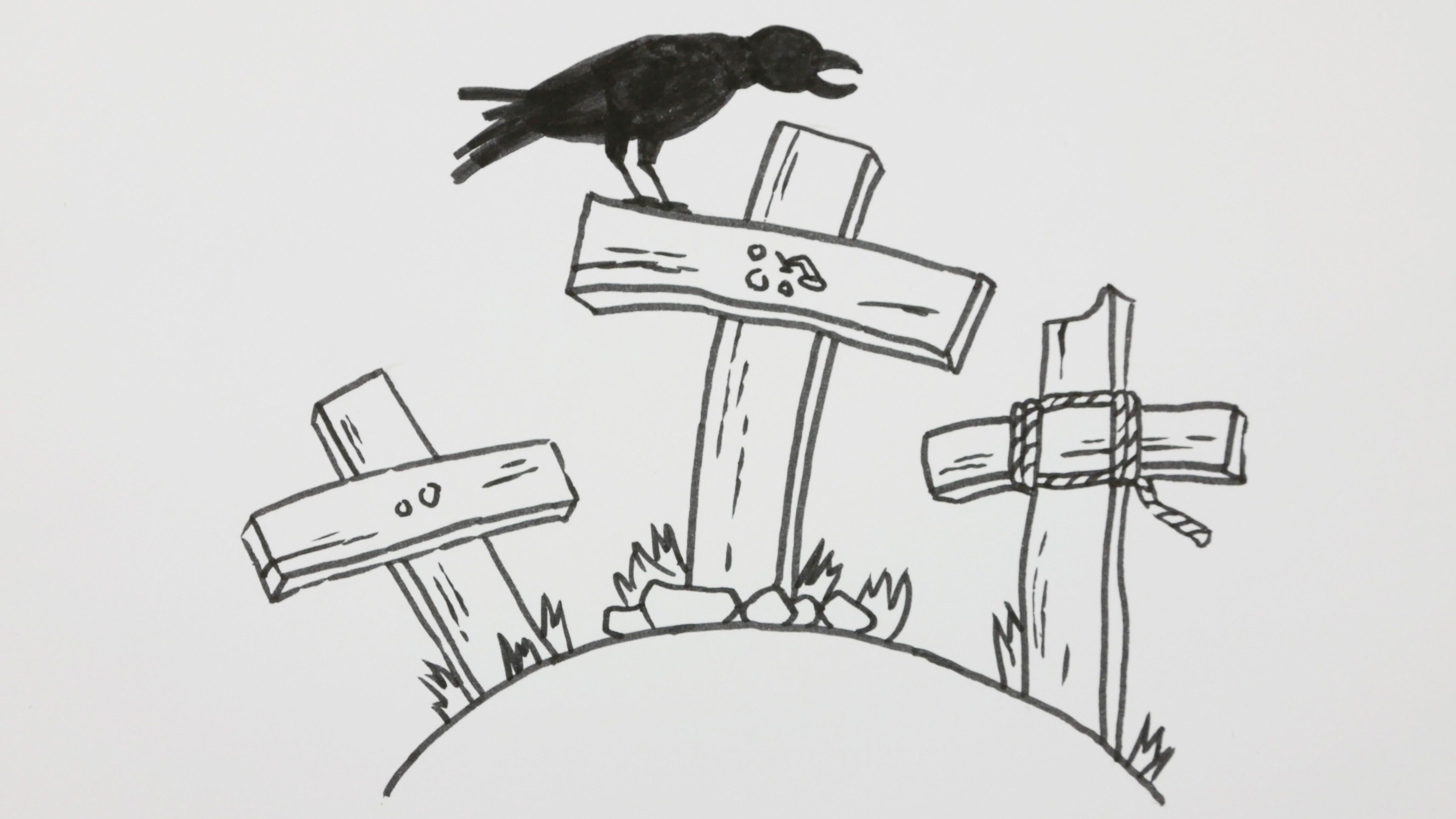Uncategorized Drawing Video how to draw a halloween graveyard with crow doodle cartoon comic video 8