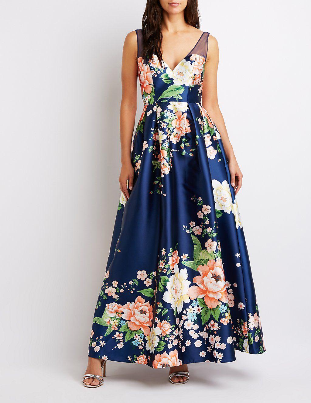 Mesh Trim Floral Maxi Dress Charlotte Russe White Floral Maxi Dress Long Floral Skirt Floral Maxi Dress [ 1326 x 1024 Pixel ]