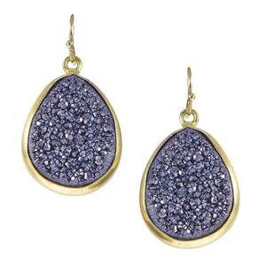 Urban Posh Pear Metallic Druzy Earrings - Purple