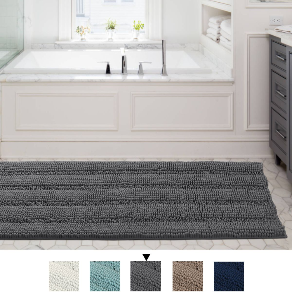 Striped Shaggy Long Rugs For Bathroom Cozy Shag Collection Gray Solid No Slip Shower Plush Carpet Mat Living Bedroom Soft Thick Area Rug Large Bath Mat For En In 2021 [ 1000 x 1000 Pixel ]