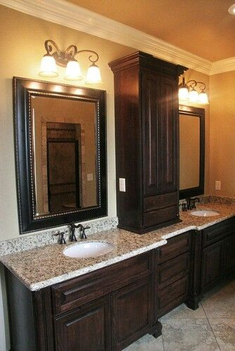Dark cabinets and granite counter tops with cupboard in - Dark wood bathroom storage cabinets ...