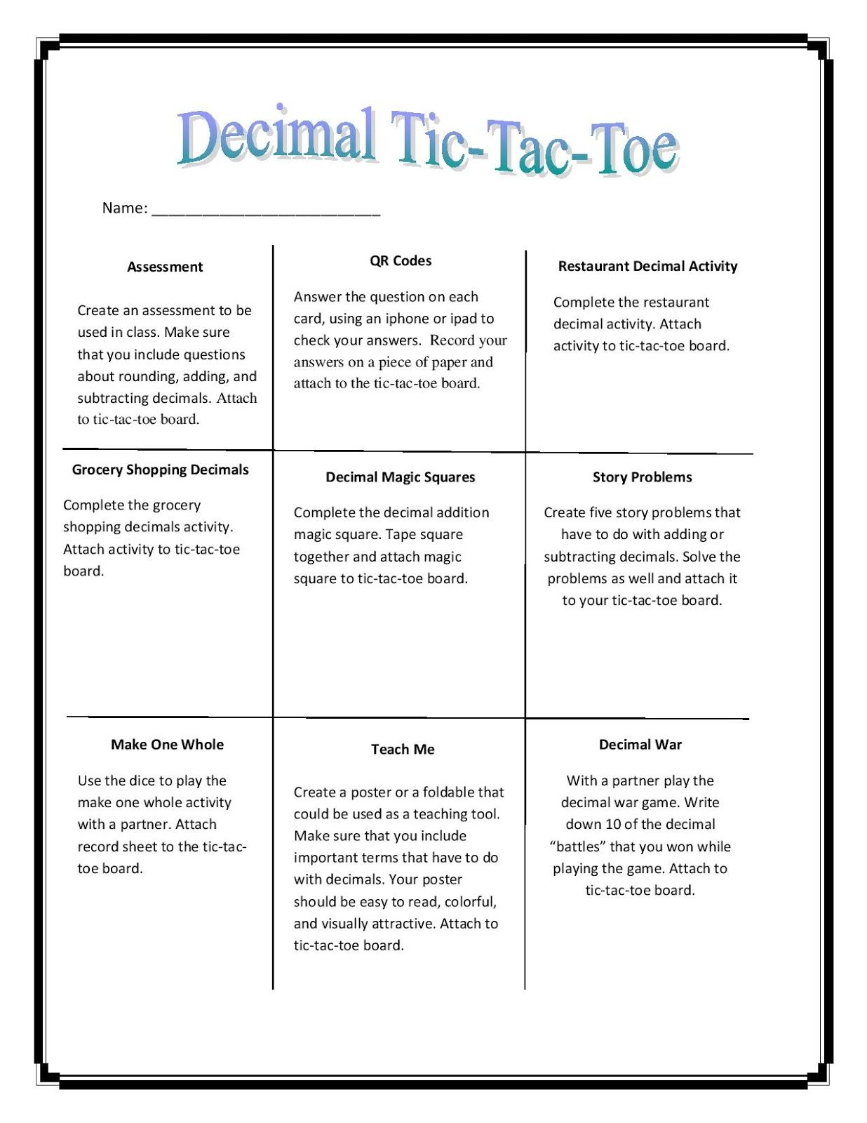 TicTacToe Boards For Differentiation  Things For My Classroom