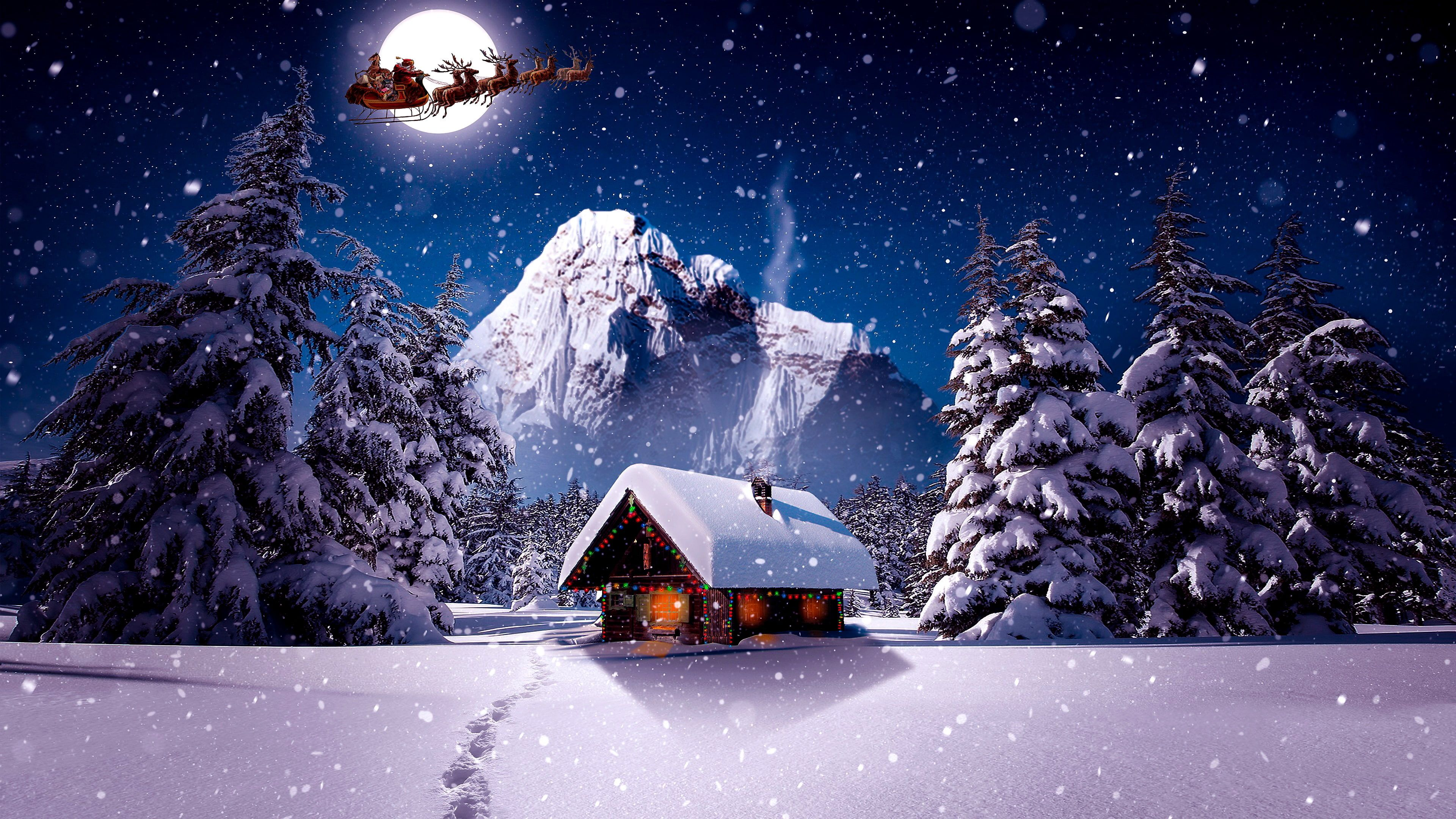 Winter Santa Claus Sleigh Sledge Snow Snowing Moon Log Cabin House Mountain Christmas Night Chistmas 4k Wall Nature Wallpaper Wallpaper Hd Wallpaper