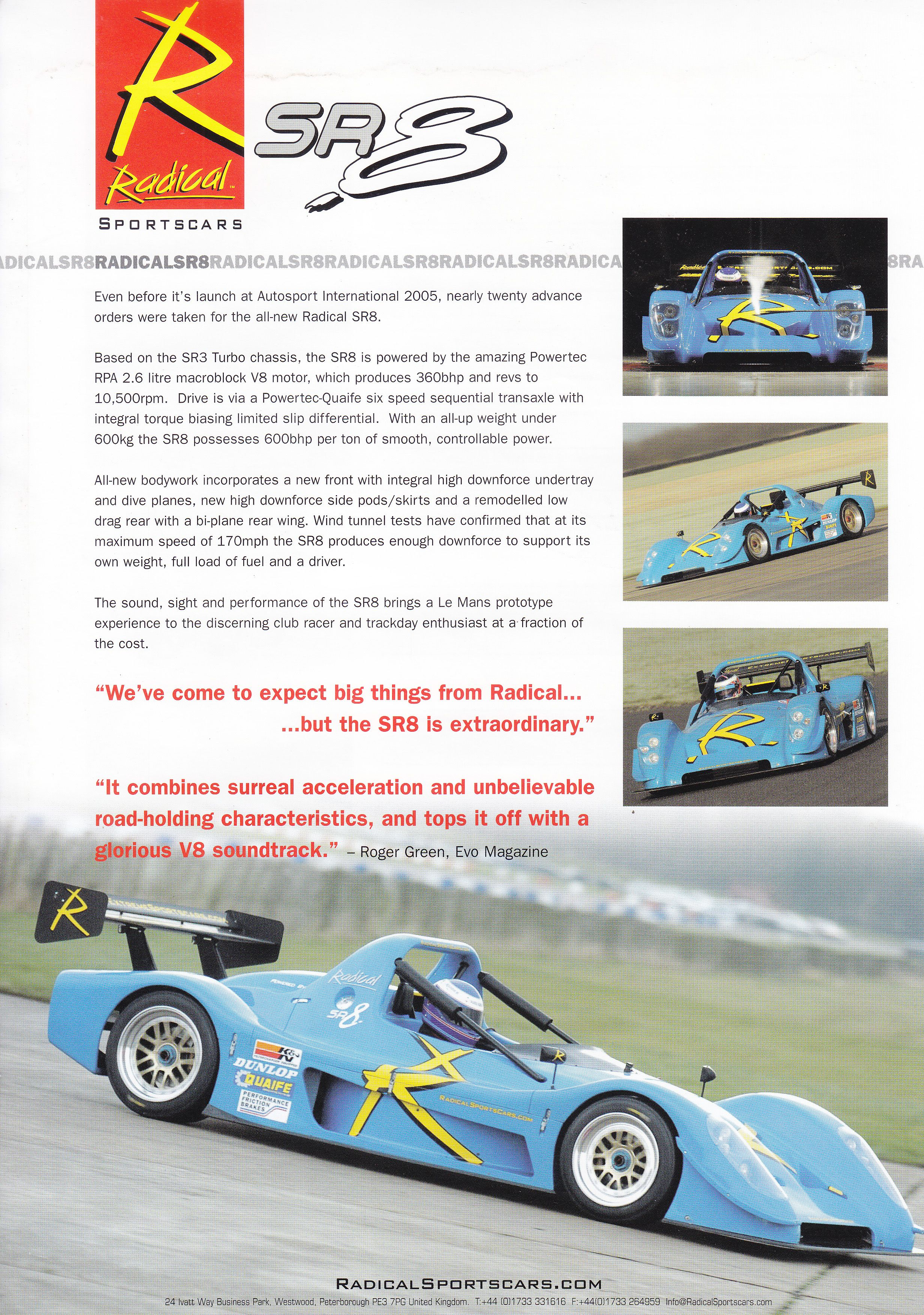 Radical SR8 track car (2005, UK, English leaflet)   Car sales