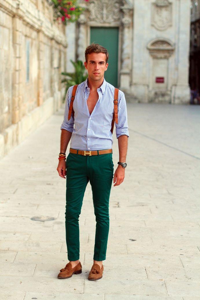 Green pants, blue checked shirt, light brown shoes & belt | G'd up ...