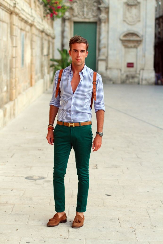 Green Pants Blue Checked Shirt Light Brown Shoes Belt Mens