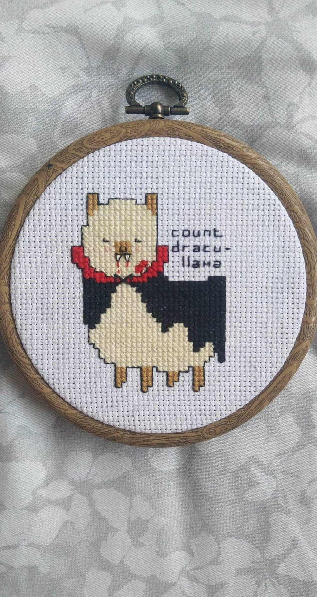 Count Dracu Llama Cross Stitch