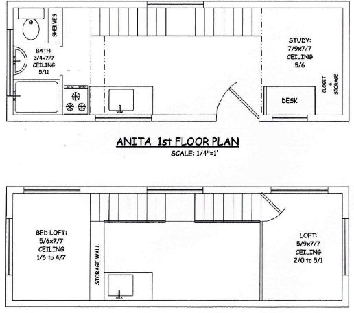Tiny House On Wheels Two Lofts tiny house on wheels - initial layout of the interior floor plan