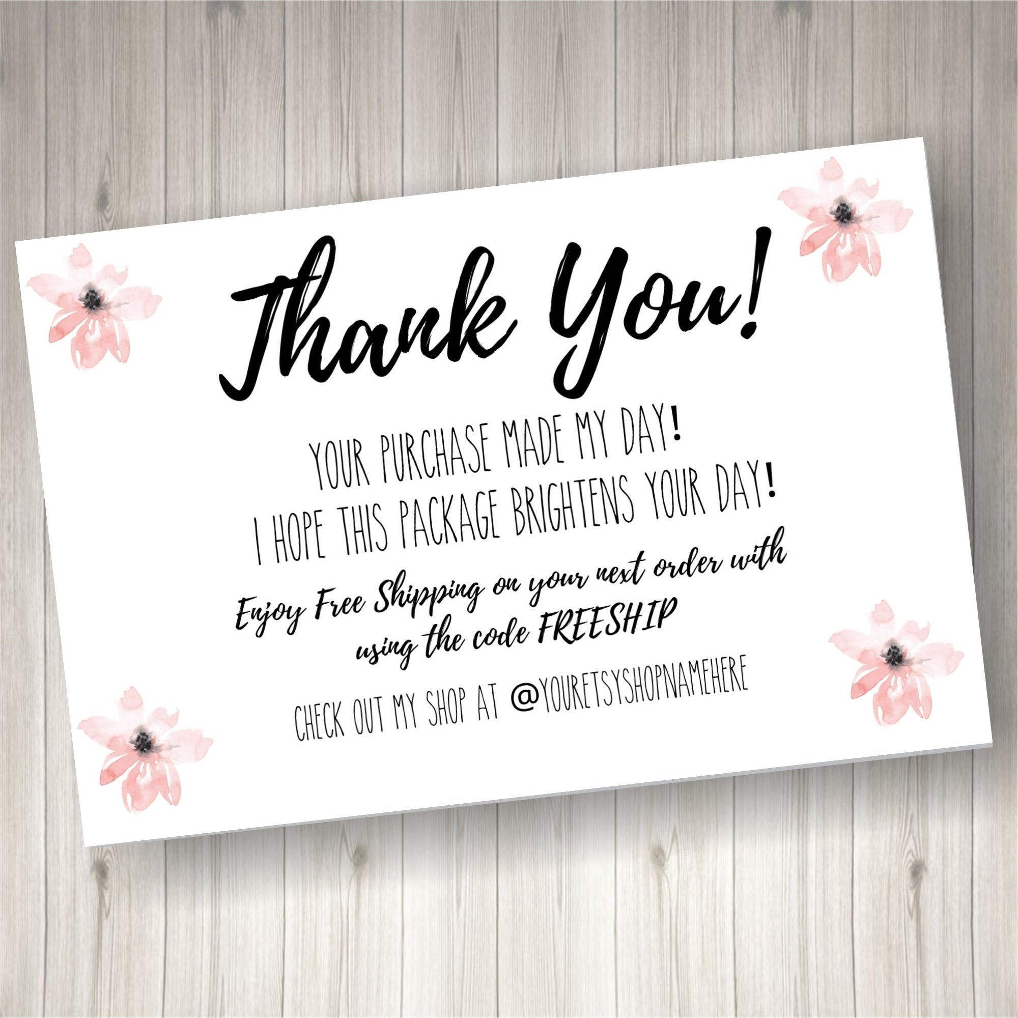 Printed Thank You Cards For Small Business 60 Count Pink Etsy Print Thank You Cards Business Thank You Cards Small Business Cards