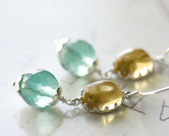 Spring Morning Earrings Teal Fluorite by FirebirdJewellery on Etsy, $44.00