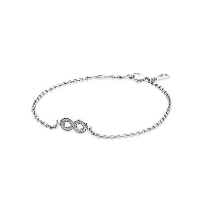 zirconia symbol cubic adjustable bracelet p with inch infinity to sterling silver