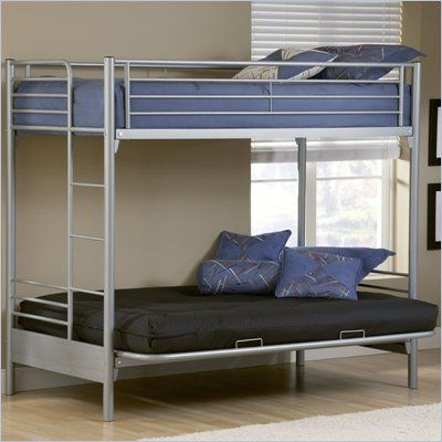 Hilale Universal Youth Twin Over Futon Bunk Bed In Silver Finish 1178bbf